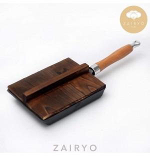 Cast Iron Traditional Tamagoyaki Pan w Wood Lid / 玉子焼き平鍋